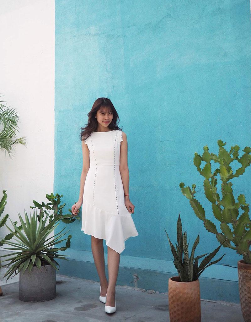 Đầm đuôi xéo thiết kế cho nữ đẹp