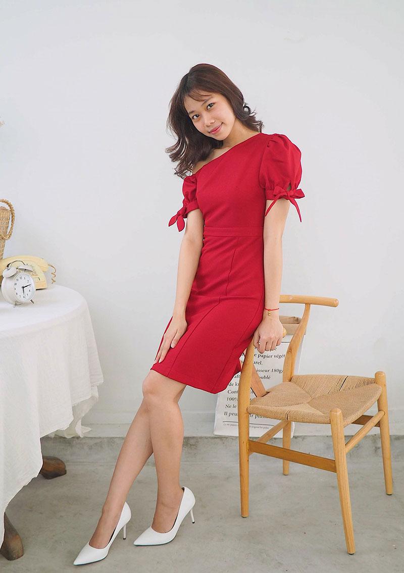 Đầm lệch vai màu đỏ cho nữ đẹp