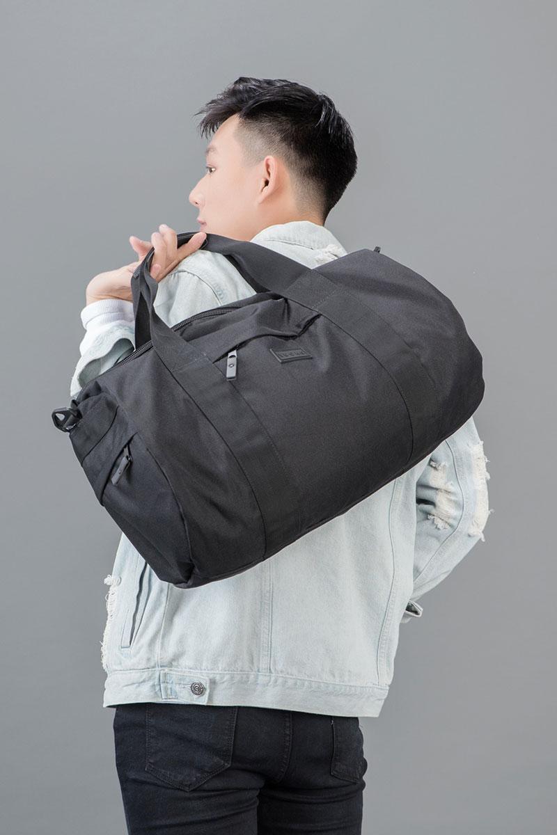 Túi trống vải bố màu đen cho nam mạnh mẽ