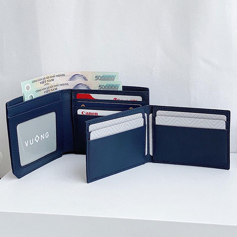 Ví da nam double man với ví mini đựng rất nhiều thẻ.