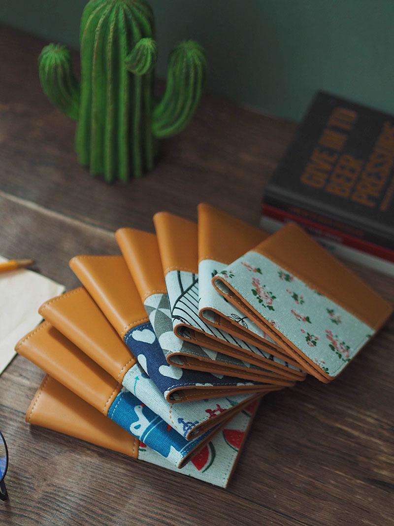 Vỏ bọc hộ chiếu linen hoa văn dễ thương