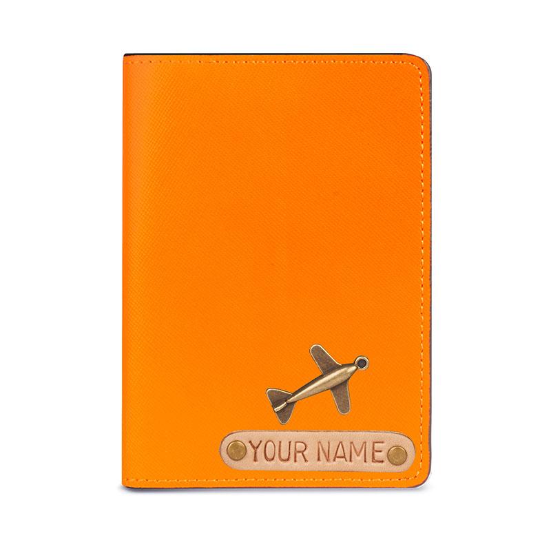 vỏ hộ chiếu khắc tên da thật màu cam