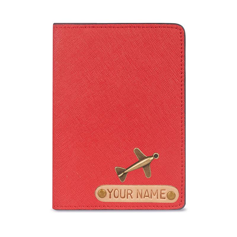 vỏ hộ chiếu khắc tên da thật màu đỏ