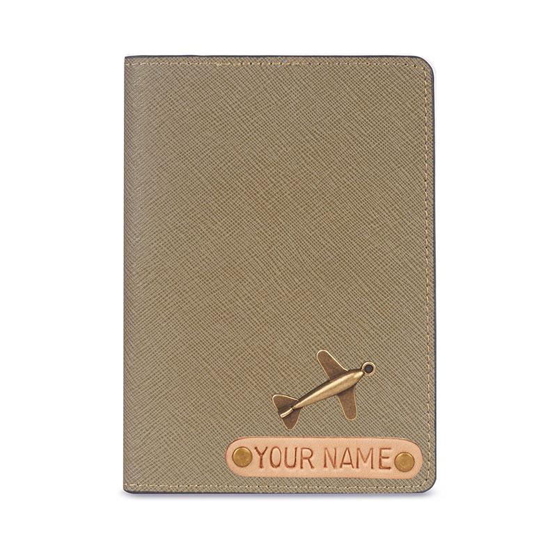 vỏ hộ chiếu khắc tên màu nâu đất