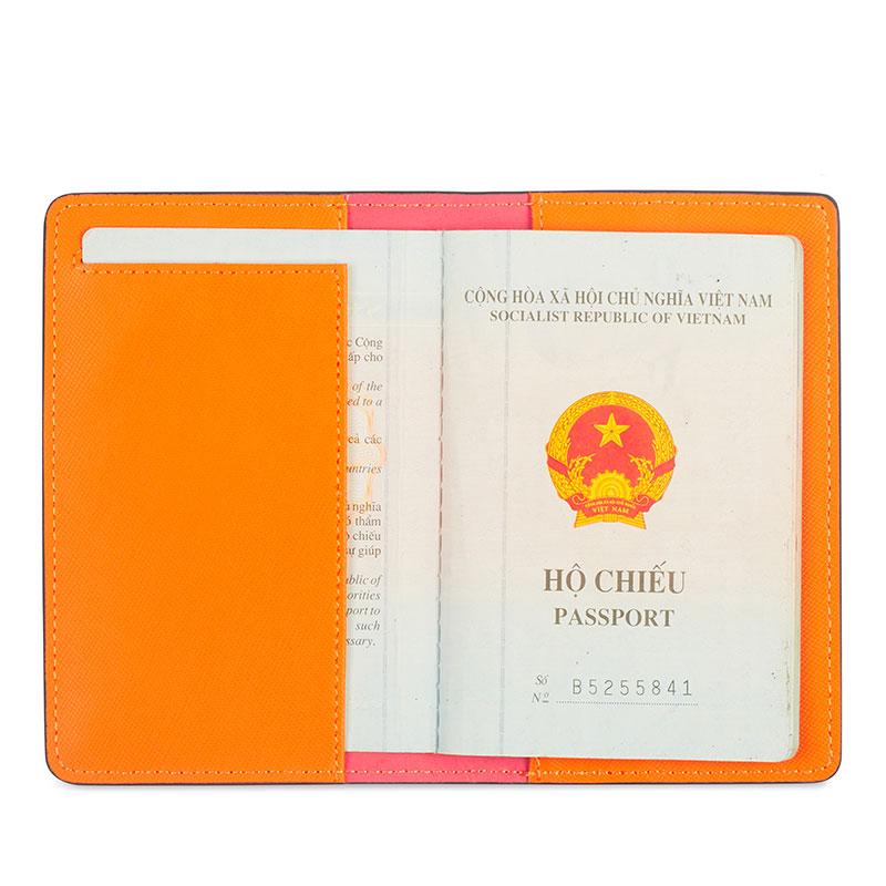 bao da hộ chiếu màu cam