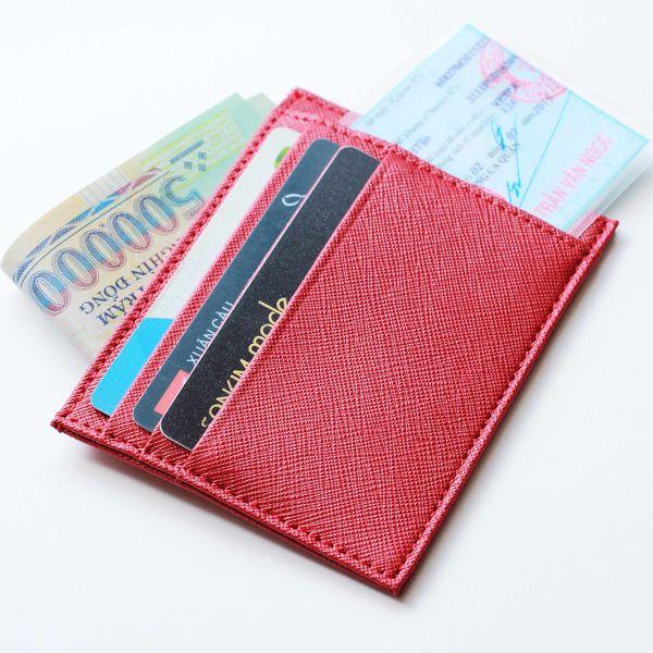 ví đựng thẻ màu đỏ